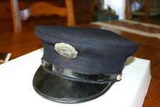 VINTAGE FIREFIGHTERS UNIFORM CAP WITH BADGE WEST WEBSTER NY 1950'S VERY GOOD