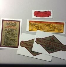 Briggs & Stratton Pre WW2 Decals With United Oil Bath W/2 Smaller B&S Set of 5
