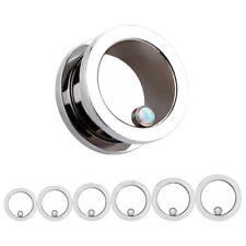 SILVER OPAL Stainless Steel Ear Tunnels Piercing Jewellery Plug Guages TU168