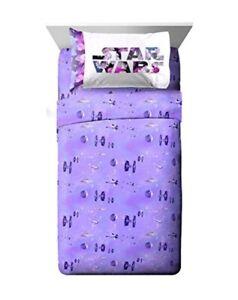 Star Wars Galaxy in Bloom Queen Super Soft 4pc Sheet Set Purple/White NWT