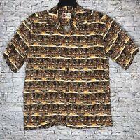 Vintage Hilo Hattie Hawaiian Aloha Tiki Luau Brown Shirt Tribal Hawaii Men's L