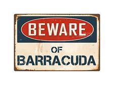 "Beware Of Barracuda 8"" x 12"" Vintage Aluminum Retro Metal Sign VS036"