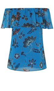 Karen Millen Blue Bardot Top (Size 6 )TF026