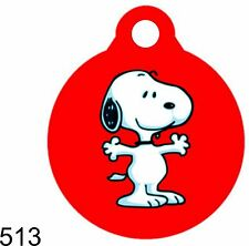 Pet Tags Personalized Pet ID tag for Dog and Cat ROUND Snoopy Made In USA Cute