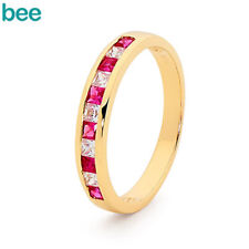 New Diamond And Ruby Eternity Ring Diamond And Ruby Ring 9ct 9k Yellow Gold Ring