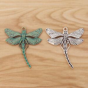 6pcs Mixed Green Tibetan Silver Verdigris Patina Large Dragonfly Charms Pendants