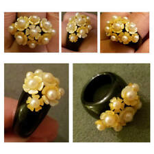 nartural carved mop mother of pearl yellow flower black jade onyx ring 5.5