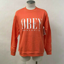 Obey Women's Crew Sweatshirt Chess King Hot Coral Size XL NWT Shepard Fairey