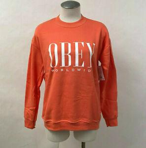 Obey Women's Crew Sweatshirt Chess King Hot Coral Size XL NWT Shepard Fairey