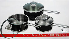 3pc Saucepan Set Stainless Steel Cookware Pot With Glass Lids Sauce Pan Black