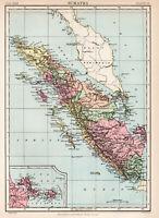 Antique Map Of Sumatra Indonesia Asia  1880
