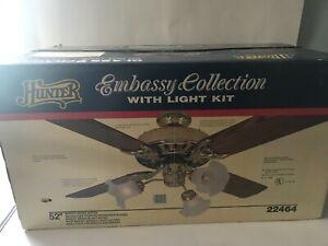 "Vintage 1990 Hunter Original Ceiling Fan Bright Brass 52"" Model 22464 USA MADE !"