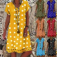 Women Casual Loose Polka Dot Print Colorblock Short Sleeves V-Neck Dress Tunic