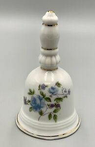 """Vintage Small Porcelain Bell with Flowers and Gold Touches 4"""""""