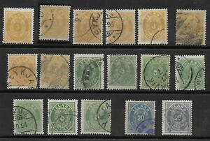 Iceland stamps 1882 Collection of 17 CLASSIC stamps HIGH VALUE!
