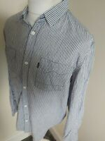 Mens Levis Black Label Shirt Blue Stripe Western Xl 48 Chest Long Sleeve