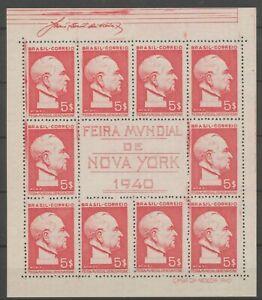 Brazil 1940 Block Sheet Feira Mundial de New York 10x$5 MNH