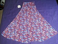 NWT LuLaRoe Maxi Skirt Multi Color Flare Size S Small Fish Print