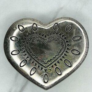 Silver Tone Engraved Heart Belt Buckle