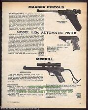 1980 MAUSER Parabellum & HSc, MERRILL Pistol AD Collectible Advertising