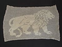 Antique Hand Crochet Lion Textile