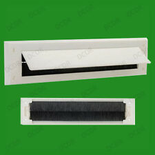1x White PVC Door Letter Box Draught Excluder Brush Seal, 338 x 78 mm, With Flap