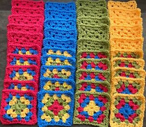 New x 40 Yellow,Pink,Blue Green Handmade Crochet Granny Squares 4 rounds