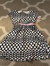 Brand New Girls Lily Rose Black And White Polka Dot Dress With Pink Belt, Sz 8