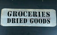 "Vtg Metal Groceries Dried Goods Sign  Tackle Shop Decor Farm house Decor 18"" x 6"