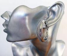 Gorgeous 3 cm Glittery Hoop Dangle Drop Earrings SILVER Tone Criss Cross Pattern