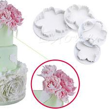 4pcs Peony Flower Fondant Mold Sugarcraft Cake Cookies Embosser Cutter 109