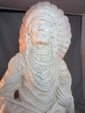 NATIVE AMERICAN INDIAN CHIEF FIGURINE STATUE! Heavy Solid Looks Carved KENDRICK