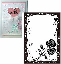 ROSE HEART FRAME embossing folders - Crafts Too Folder CTFD3039 wedding flowers