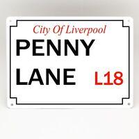 PENNY LANE LIVERPOOL BEATLES STREET SIGN Metal Door Vintage Retro Wall Plaque