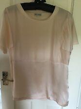 Reiss Silk Front T Shirt Peach Size M