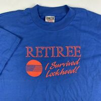 VTG 90s Lockheed Martin Retiree I Survived T-Shirt Mens Large Space Aircraft