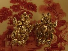 3013 ANTIQUE GREAT GEORGIAN STERLING SILVER GOLD EARRINGS NATURAL DIAMONDS, 1820