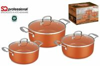 3pc Non Stick Aluminium Ceramic Cookware Casserole Induction Stockpot Set Copper