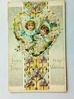 Vintage Postcard 1910's Love's Token to my Valentines Day Two Children in Heart