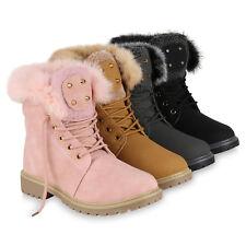 Damen Worker Boots Warm Gefütterte Outdoor Stiefeletten Nieten 819432 Schuhe