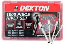Dekton 1000pc Aluminium Blind Pop Rivet Set 4 Sizes With Store Case 3.2mm