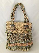 "SUN N SAND Brown Orange Print Straw 14X15"" Bag Purse with 2 Handles"
