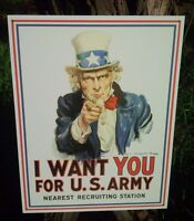 I WANT YOU FOR US ARMY Tin Classic Sign Wall Bar Garage Shop Decor Vintage