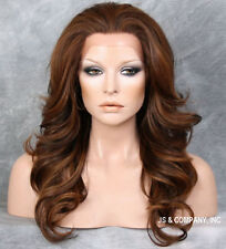Brown Auburn mix HEAT SAFE Lace Front Wig Curly Long Layered APA8 NBY 4-27-30