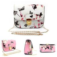 HO_ HD_ Women Floral Butterfly Print Chain Bag Shoulder Crossbody Purse Handbag