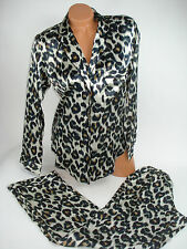 Victoria Secret Sleepwear Set Satin Leopard Lounge Pants Button Front Small NEW