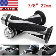 "7/8"" 22mm Motorcycle CNC Bike Bicycle Handlebar Rubber Gel Hand Grips Silver"