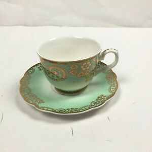Grace's Teaware Footed Tea Cup & Saucer Green Gold White Ornate