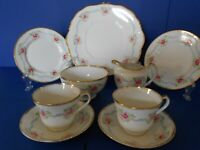 VINTAGE  1940s-50s SALISBURY BONE CHINA PART TEA SET FOR 2 PEOPLE PINK FLORAL