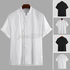 Mens Short Sleeve Chef Jacket Restaurant Shirts Cook Work Uniform Tops Blouse